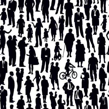 foules: Pattern - foule de gens marchant sur une rue.