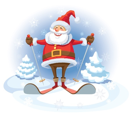 Smiling Santa Claus skiing, white winter background.
