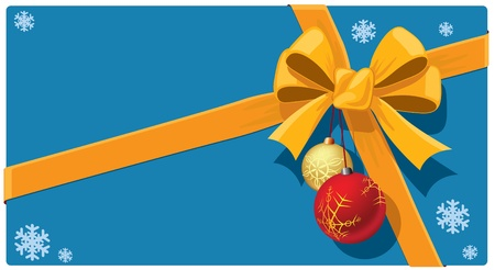 Christmas gift with ribbon and Christmas balls Vector