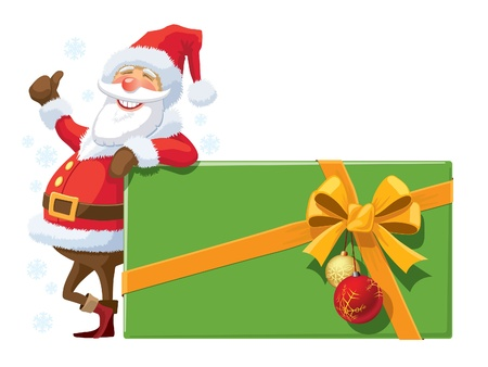 Santa Claus with large Christmas gift with ribbon and Christmas balls Stock Vector - 16478798