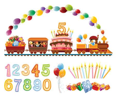 tren caricatura: Niños felices en un tren de juguete con la torta de cumpleaños globos y regalos.