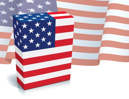 American software box with national US flag. Vector