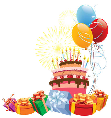 Colorful birthday cake with balloons and gifts. Vector