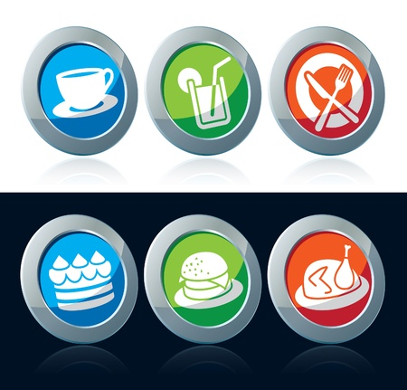 sandwich white background: Collection of colorful food icons over white and black background