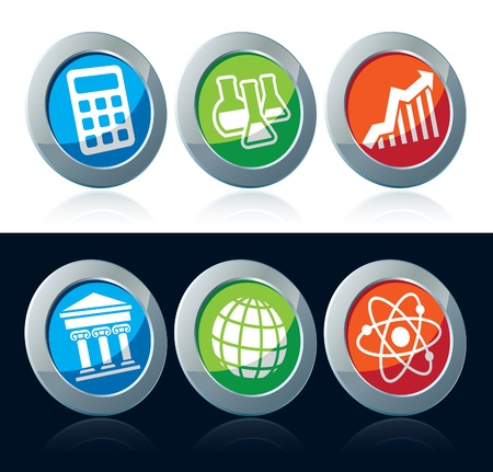 Colorful scientific icons set over white and black background Vector