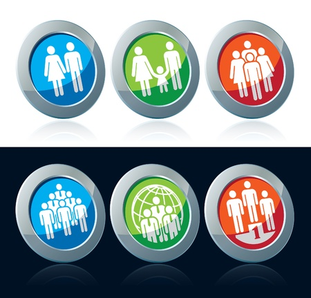 Colorful human icons set over white and black background Vector