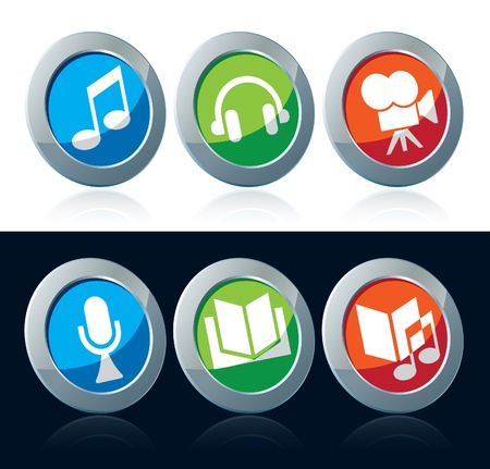 Entertainment icon set over white and black background Vector