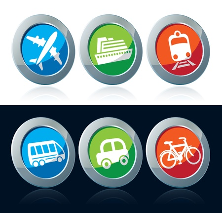 Travel icon set over white and black background Vector
