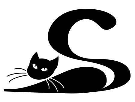 lazy: Black cat lying over white background Illustration