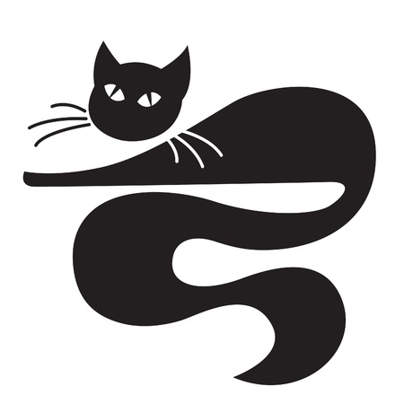 silueta de gato: Gato negro que miente sobre el fondo blanco Vectores