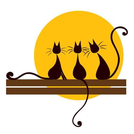 silueta de gato: Tres gatos negros sentados a bordo y buscando en el sol