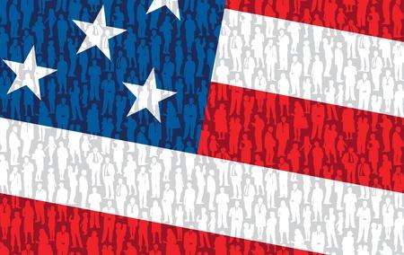 estados unidos bandera: Patr�n - multitud de gente en la bandera nacional de EE.UU.. Vectores