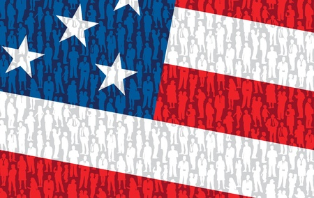 Pattern - crowd of people in national US flag.  Vector