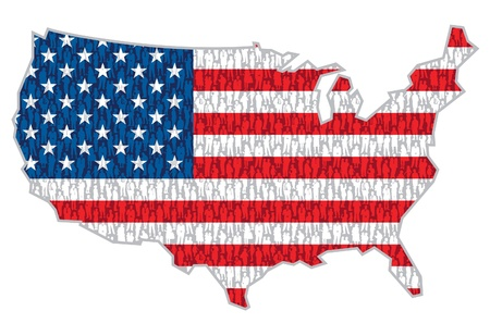 Pattern - crowd of people in national flag over US map.  Vector