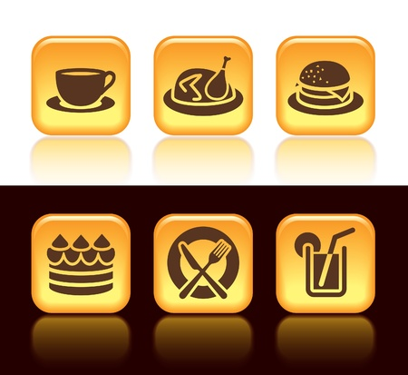 roast chicken: Collection of colorful food icons over white and black background