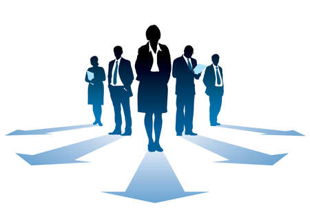 Five silhouettes of successful businesseople, everyone has own direction. Illustration
