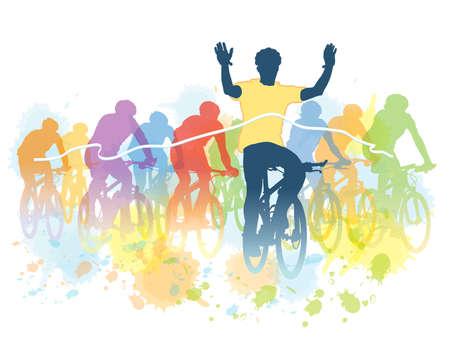 ciclista: Grupo de ciclistas en la carrera de bicicletas. Sport ilustración.