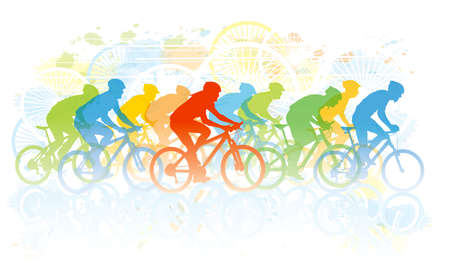 bicyclette: Groupe de cycliste dans la course cycliste. Sport illustration