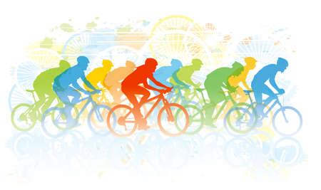 ciclista: Grupo de ciclistas en la carrera de bicicletas. Ilustración del deporte