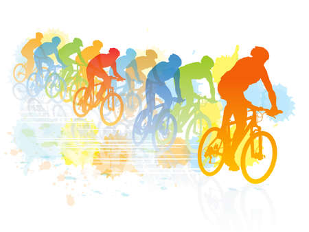 cyclist silhouette: Group of cyclist in the bicycle race. Sport illustration