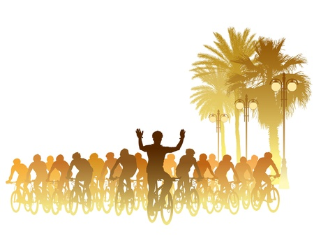 bicycle race: Group of cyclist in the bicycle race. Sport illustration