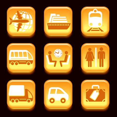 Colorful travel icons set over black  background Vector