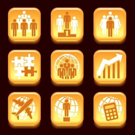 Orange business icons set over black background Stock Vector - 18138362