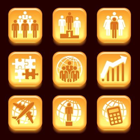 Orange business icons set over black background Stock Vector - 18138362