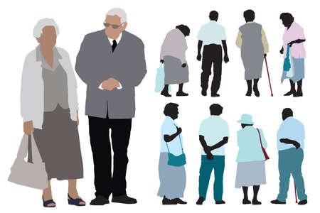 senioren wandelen: Een set van ouderen silhouetten op witte achtergrond. Stock Illustratie