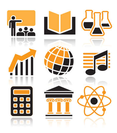 School subjects icons set over white background Stock Vector - 18410176