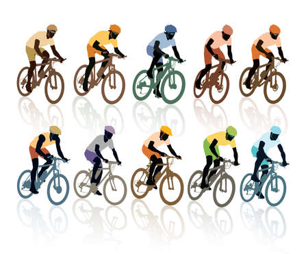 Set of silhouettes, cyclists in the bicycle race  Sport illustration  Vector