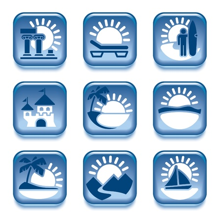 Blue icons set, places of interest, over white background Vector