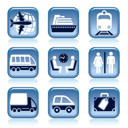 Set of blue travel icons over white background Stock Vector - 18497659