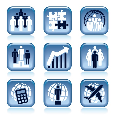 Set of blue business icons over white background Stock Vector - 18497663
