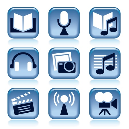audio book: Set of blue entertainment icons over white background