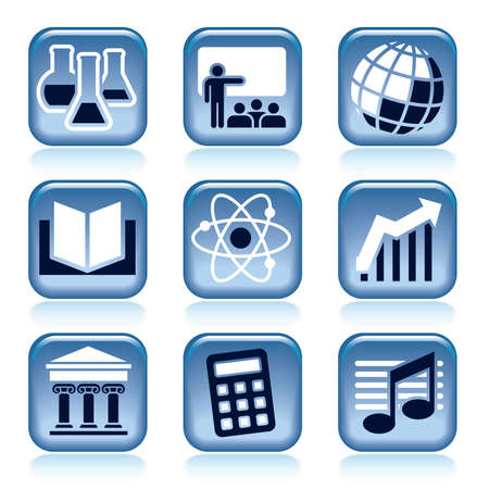 Set of blue icons, school subjects over black background Vector