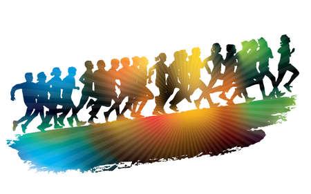donna che corre: Folla di giovani in esecuzione. Sport illustrazione.