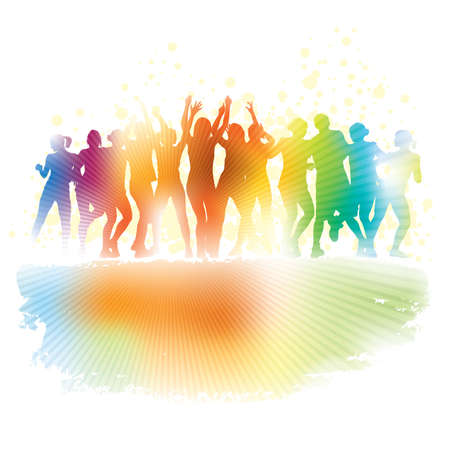 crowd happy people: Large group of young people dancing in a club. Illustration