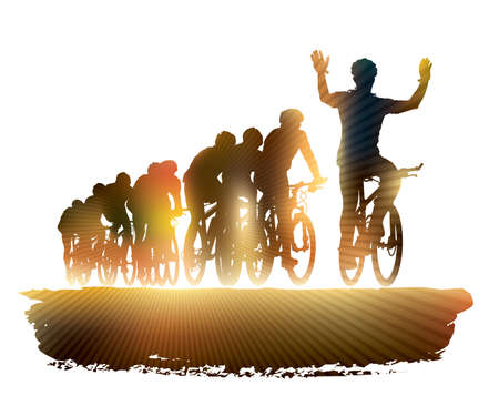 group fitness: Group of cyclist in the bicycle race. Sport illustration.