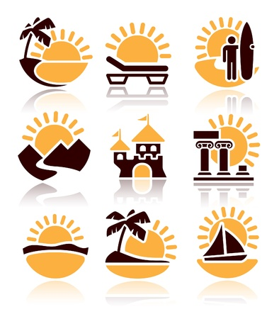 Places of interest, icons set over white background Vector