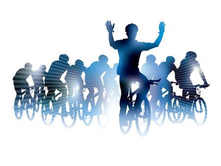 mountain bicycle: Gruppo di ciclisti in gara bicicletta. Sport illustrazione Vettoriali