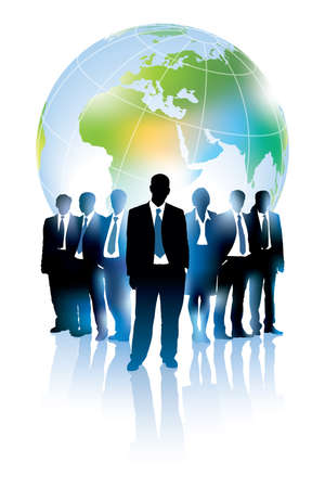 Businesspeople are standing in front of large world map.  Vector