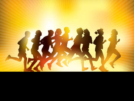 group fitness: Crowd of young people running. Sport illustration.