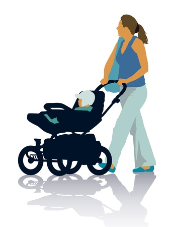 green day baby blue background: Silhouettes of mother and child on the walk.