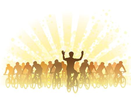 ciclismo: Grupo de ciclistas en la carrera de bicicletas. Sport ilustraci?n.