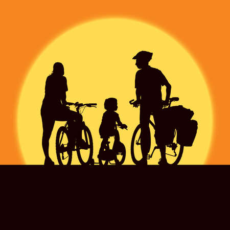 cyclist silhouette: Parents and child cycling on a summer trip.
