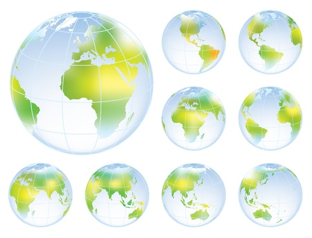 Set of nine globes showing earth with all continents. Stock Vector - 20212771
