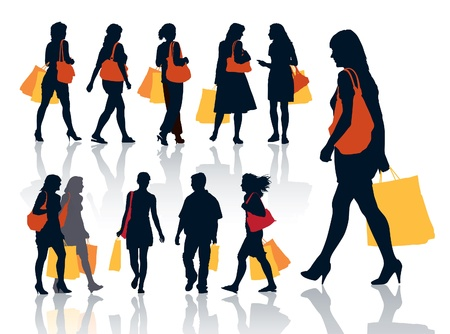 Collection of nice silhouettes of shopping people Vector