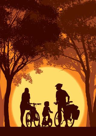familia parque: Los padres y los ni?os en bicicleta en un viaje de verano.