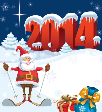 New Year and skiing santa with gifts, christmas decoration ready for your message